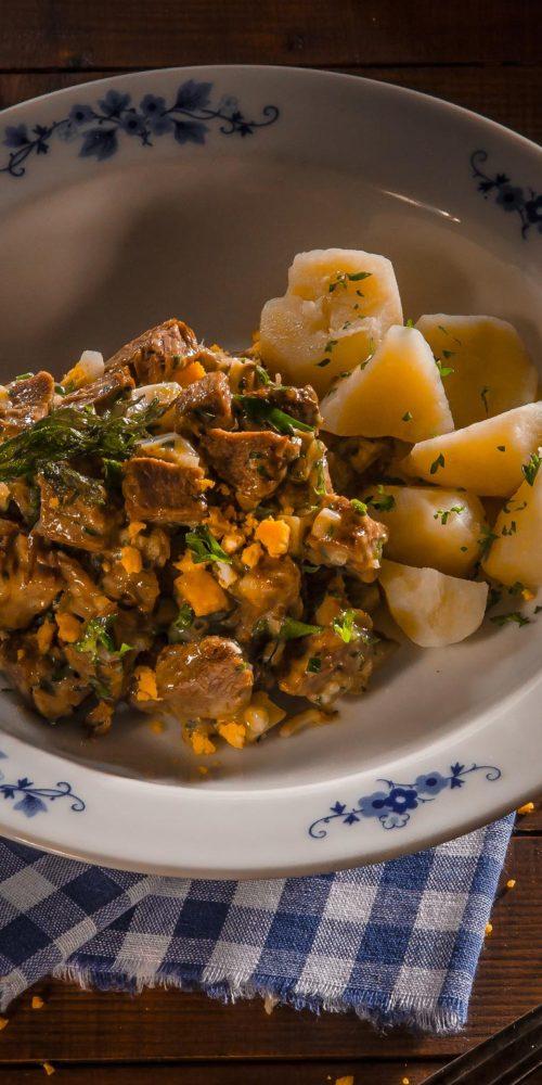 Recette FEIERSTENGSZALOT, salade de viande Luxembourg, Maison Steffen