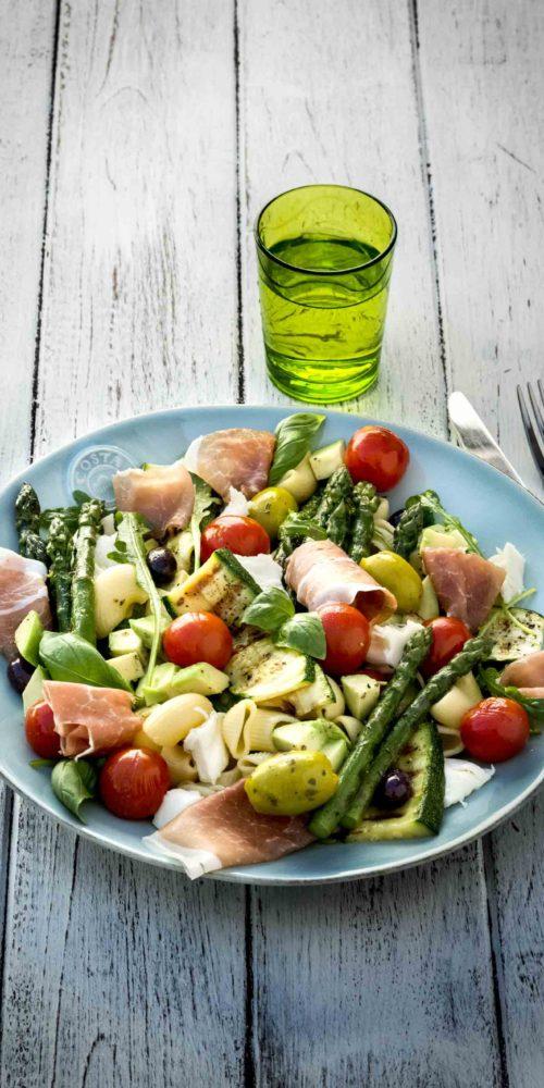 promo jambon lisanto Maison Steffen Boucherie Luxembourg Recette Salade de pates aux asperges vertes et jambon de parme jambon fumé lisanto